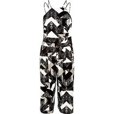 Black print strappy cropped jumpsuit £45.00
