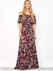 Off The Shoulder Maxi Dress With Frill Overlay - FLORAL L