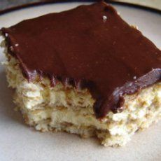 Eclair CakeIngredients    7 ozs instant vanilla pudding mix  8 ozs frozen whipped topping (thawed)  3 cups milk  16 ozs graham cracker (squares)  16 ozs chocolate frosting (prepared)