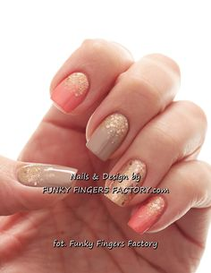 Peach and Nude Glitter nails by www.funkyfingersfactory.com