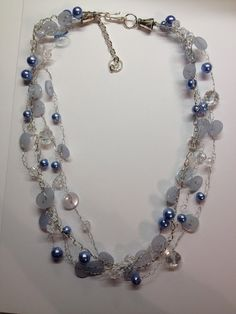 Ice Blue Button Necklace by BornAgainButtons on Etsy, $15.00