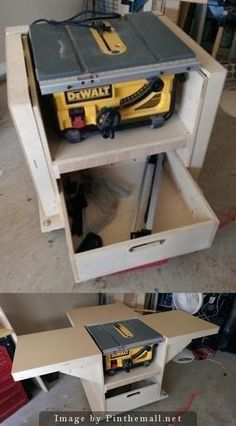 Flip up table saw cart