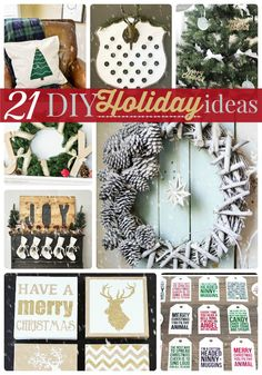 21 DIY Holiday Ideas! Such a fun list of DIY decor and projects for the holidays!