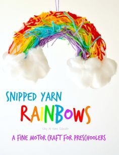Snipped yarn rainbows, a fine motor craft for preschoolers - Stay At Home Educator