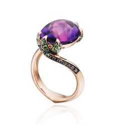 Tomasz Donocik Water Lilly pad ring,18K Rose gold diamond, Amethyst