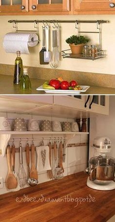 Curtain rod with hooks to hang up utensils is a simple way to help you get rid of countertops clutter