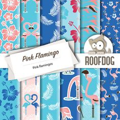Pink flamingo digital paper | hawaiian shirt flamingos | digital paper pack instant download | summer tropical pink flamingos backgrounds by RoofdogDesigns on Etsy