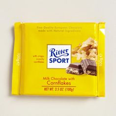 Ritter Sport Milk Chocolate with Cornflakes - At World Market. Yummy! But at $2.49 for 3.5 oz. not something I would buy often. Tastes like a fancy Nestle's Crunch.