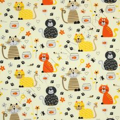 Cartoon Cats and Fish Bowls Cream by Timeless Treasures Fabrics@sewtimeless. 100% cotton.