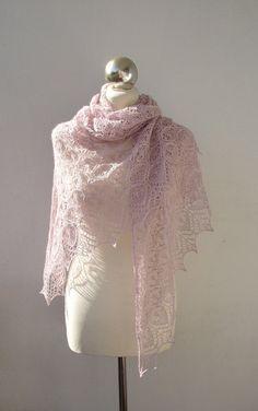 Knitted silk scarf Powder pink knit shawl