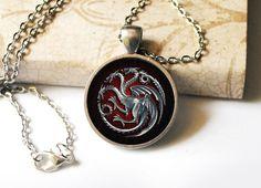 Game of Thrones Inspired House Targaryen Antique Silver Cameo Pendant Necklace. $14.00, via Etsy.