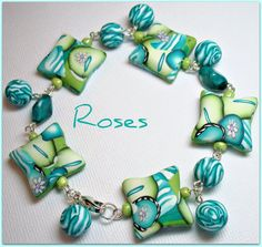 "Olive Green & Turquiose ""Roses"" Charm Bracelet"