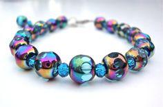 Blue bead bracelet  glass bead bracelet  by sparklecityjewelry