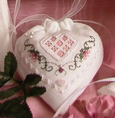 "~The Victoria Sampler - Pincushion Heart  ~ free pattern  The Rose & Hardanger Motifs are taken from the ""Close at Heart"" Sampler...."