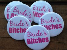 Bachelorette Party Buttons Bridesmaid Pins Hens by DeighanDesign