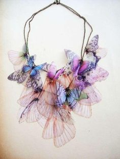 Gorgeous pastel butterfly necklace by: Derya Aksoy - handmade jewellery