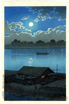 La rivière que j'ai sous la langue, L'eau qu'on n'imagine pas, mon petit bateau Et, les rideaux baissés, parlons Paul Eluard (Kawase Hasui - Moon River 1929) mixed by カタツムリ (France)