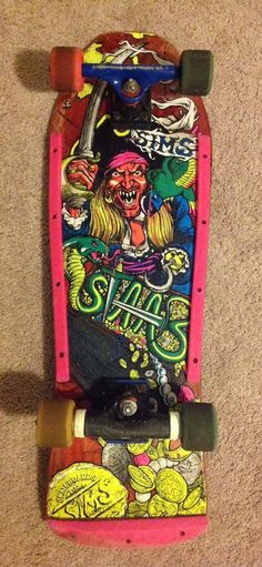 SIMS Kevin Staab Pirate Skateboard complete w/Tracker Powell Peralta - VINTAGE - #SIMS Sims, Vintage Skateboards, Skateboard Decks, The Good Old Days, Skateboarding, Snowboarding, Old School, Nostalgia, Surfboards