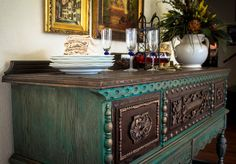 Sideboard painted with Chalk Paint® decorative paint by Annie Sloan in Florence with a Provence wash and finished with Dark Chalk Paint® Wax | Gorgeous project by Portilla Design
