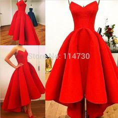 Vestidos New Sweetheart A-Line Puffy Satin Red Hi Lo Summer Myriam Fares Party Celebrity Dresses Hot 2015 Gorgeous Dress