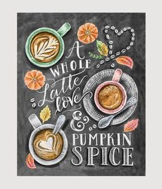 Inspired by our love of Fall's favorite coffee drink, this print is for the latte lover and pumpkin spice addict. We know there's almost nothing better than getting your hands around a mug full of cof #CoffeeDrinks