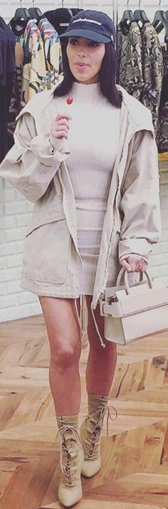Kim Kardashian' in Jacket and shoes – Yeezy  Dress – Wolford  Shoes – Givenchy