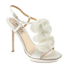 Badgley Mischka 'Randi' Sandal White Satin 9 M ($75) ❤ liked on Polyvore featuring shoes, sandals, heels, sapatos, high heels, sandals/slides, women, white sandals, white shoes and white satin shoes