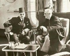 الملك فاروق والرئيس الأمريكي روزفلت على ظهر الطراد كوينسى 1945 ..!!