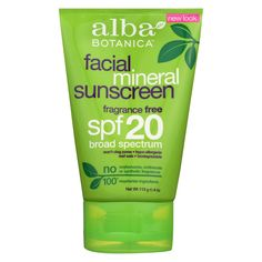 Alba Botanica Natural Sunblock - Very Emollient - Mineral Spf 20 - Facial - 4 oz Natural Sunscreen, Sunscreen Spf, Glowy Skin, Benzyl Alcohol, Facial Care, Smooth Skin, Sensitive Skin, Lotion, Moisturizer