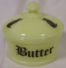 Custard Glass Round Covered Butter Dish Tub w Black Cats