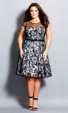 City Chic Polka Dot Rose Dress  - Women's Plus Size Fashion