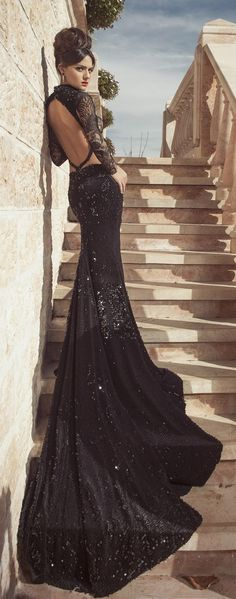 Glamorous Oved Cohen black mermaid wedding dress More