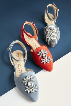 Crystal embellished ankle strap flats | Sole Society Pearla