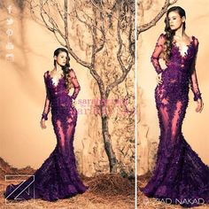 2015 Ziad Nakad Purple Wedding Evening Dresses For Arabic Dubai Celebrity Plus Size Long Sleeves Prom Gowns Cheap Sexy Lace Mermaid Vestidos Online with $176.88/Piece on Sarahbridal's Store | DHgate.com