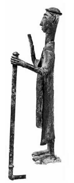 Sardinia, fragment of bronze sculpture representing a chief