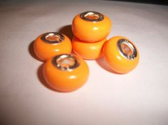 Set of 5  13mm Polymer Clay Orange Spacer Beads by jenuinecrafts, $5.00