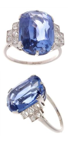 An Art Deco platinum, sapphire and diamond ring, 1930s. Featuring a natural Ceylon sapphire weighing 12 carats. #ArtDeco #ring