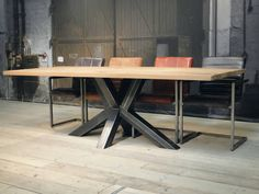 Discover thousands of images about Square tubing base table Raw Wood Furniture, Industrial Design Furniture, Unique Furniture, Custom Furniture, Furniture Design, Industrial Style Dining Table, Dinning Table, Mesa Metal, Fire Table