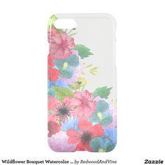 Wildflower Bouquet Watercolor Transparent iPhone 7 Case