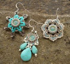 Three styles of silver and turquoise beaded earrings - Vezsuzsi gyöngyei
