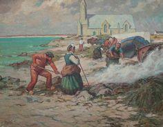 Alfred Marzin 1880-1943 Brûleurs de goémon. St Guénolé Penmarch