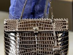 """""""Montaigne"""" in Glazed Ombre Croc Grommeted Ostrich """"Montaigne"""" Grommeted Ostrich """"Veneta"""" Hobo Another classic double-flapped BV clutch in Croc Python. Milan Fashion Weeks, Bottega Veneta, Anonymous, Crocs, Fendi, Spring Summer, Classic, Bags, Derby"""