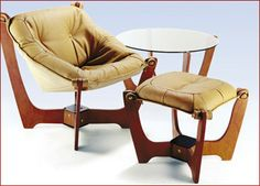luna lowback chair, ottoman and table. This really looks like the comfortable chairs my parents had when I was growing up