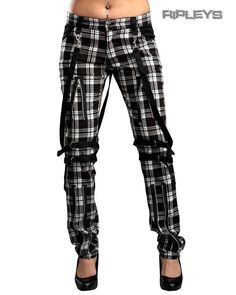 Hell Bunny/Mercy Tartan BONDAGE Jeans Trousers Punk Skinny White All Sizes