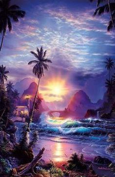 Christian Riese Lassen Art For Sale - 241 Listings Fantasy Landscape, Fantasy Art, Seascape Art, Surf Art, Jolie Photo, Ocean Art, Beach Art, Sunset Beach, Light Art