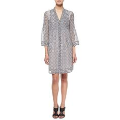 Diane von Furstenberg Layla Printed Silk Tunic Dress ($495) ❤ liked on Polyvore featuring dresses, bali lace black, three quarter sleeve dress, black shift dress, bell sleeve dress, v neck dress and 3/4 sleeve shift dress
