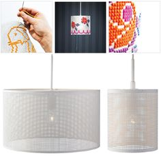 "OH MY WORD!!!! THIS SHOULD BE IN MY LIFE!!! The Stitch Lamp recently introduced by LampGustaf has been receiving enormous attention from designers as well as ""DIYers"" worldwide. Not available in the U.S. as yet but is currently selling in Sweden for 790kr, approximately $130. The metal frame comes with a darning needle and 8 colors of yarn...great way to personalize your lampshade!"