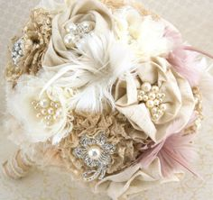 Brooch Bouquet  Shabby Chic Rustic in Ivory, Champagne and Blush with Linen, Lace, Pearls, Burlap and Feathers