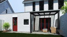 Moderne terrasoverkapping in mat antraciet van 4,06 x 3,5 meter met heldere polycarbonaat - Terrasoverkappingen - Webwinkel
