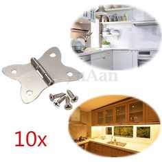 10 x Stainless Steel Cabinet Cupboard Box Butt Door Hinges Ornate Home DIY Decor